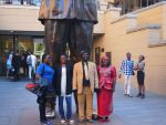Teachers in Front of Nelson Mandela's Statue